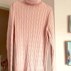 Chaps light pink cable turtleneck sweater